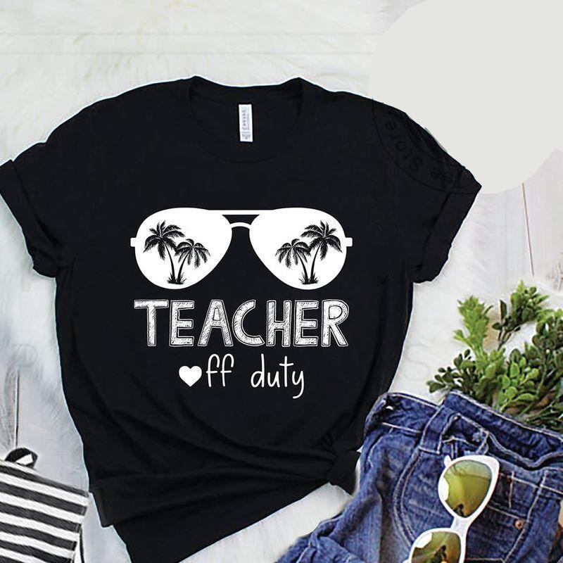 Glass Coconuts Tree Teacher Off Duty T-shirt Black