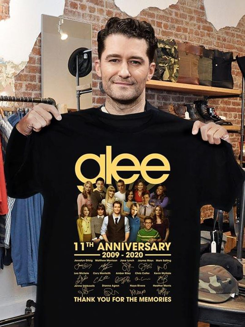 Glee 11th Anniversary 2009-2020 T-Shirt Glee Signed Shirt For Glee Fans Black T Shirt Men And Women S-6XL Cotton