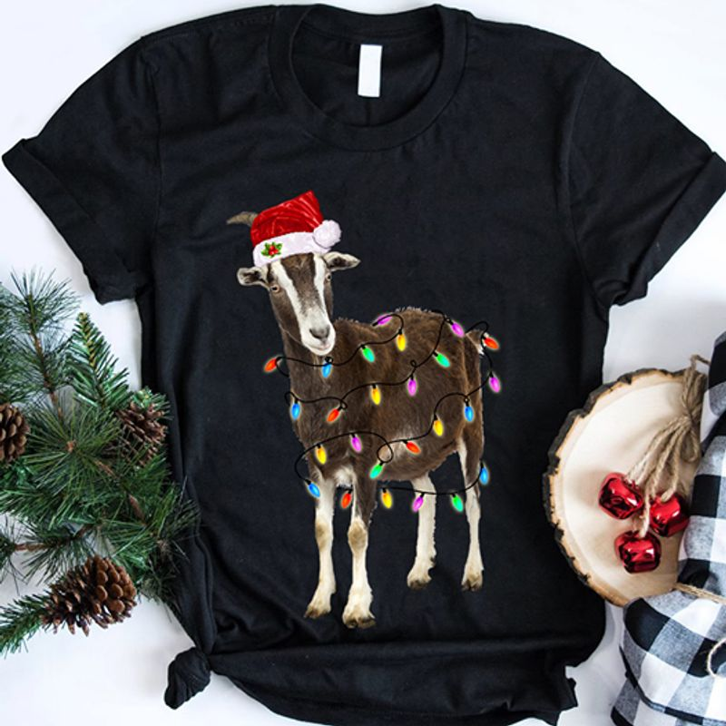 Goat Christmas T-Shirt Black B7