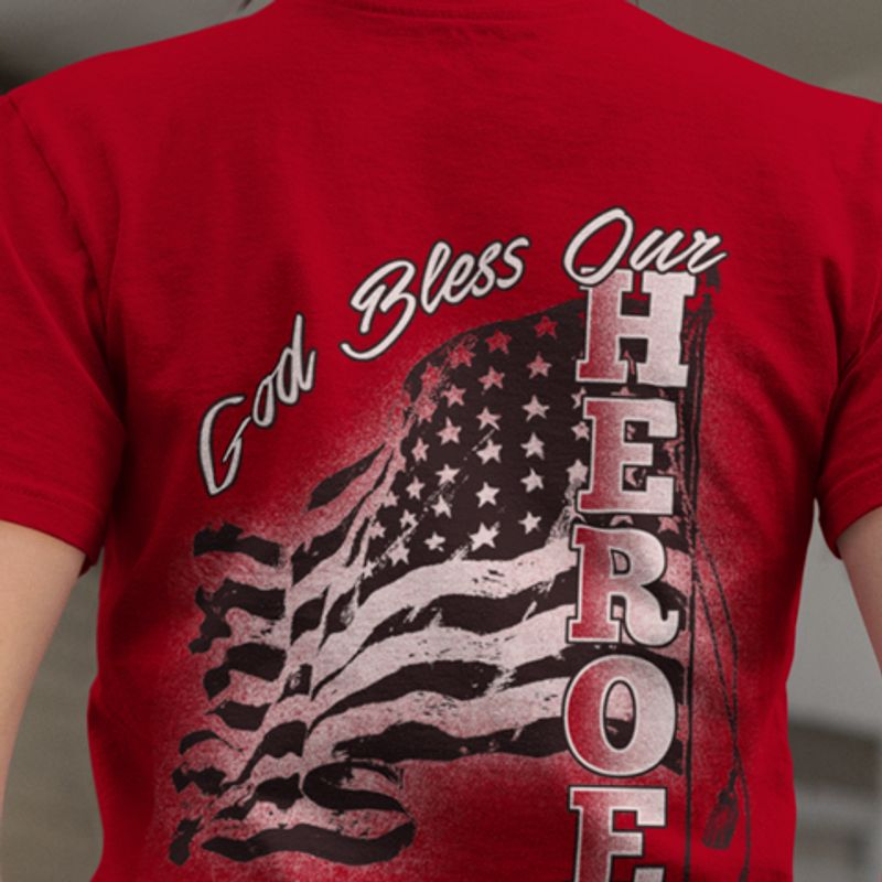 God Bless Our Heroes T-shirt Red A8