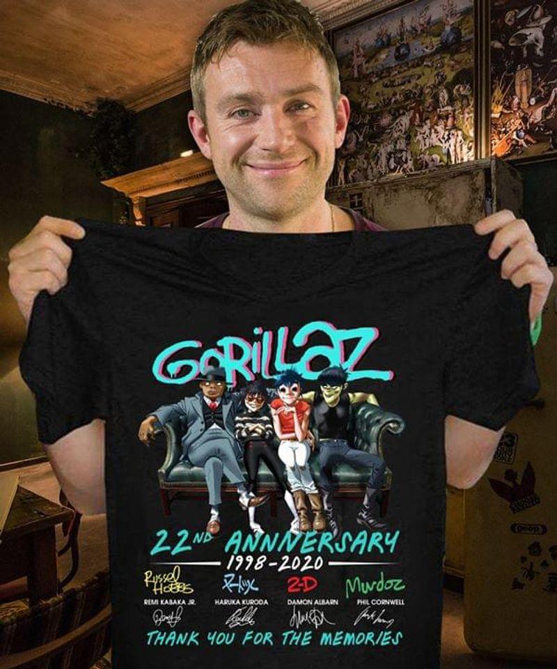 Gorillaz Fans 22nd Anniversary Thank You For The Memories Signature Black T Shirt Men And Women S-6XL Cotton