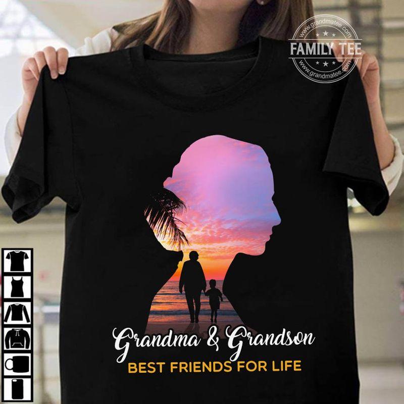 Grandma And Grandson Best Friends For Life T-shirt Black C2