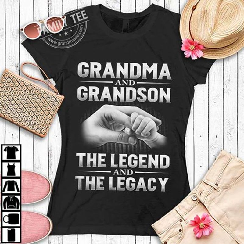 Grandma And Grandson The Legend And The Legacy   T-shirt Black B1