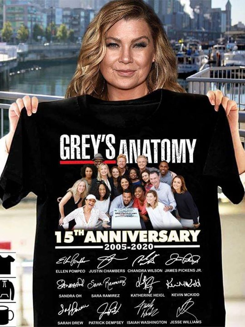 Grey's Anatomy 15th Anniversary Characters Signatures T Shirt S-6XL Men And Women Clothing