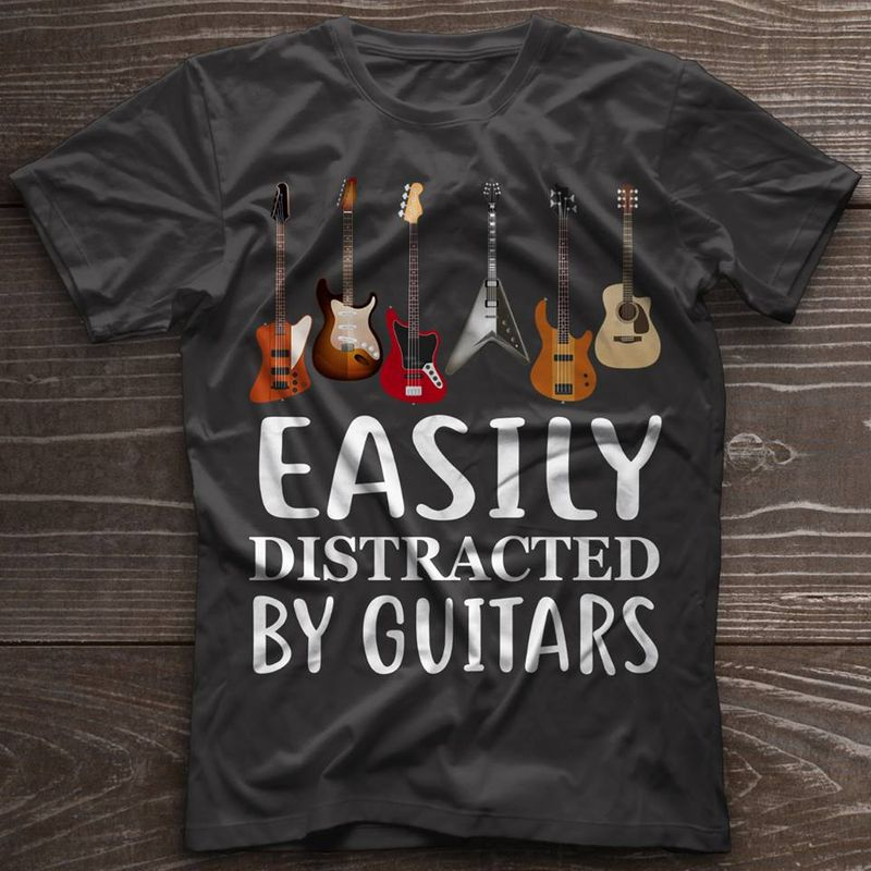 Guitar Easily Distracted By Guitars T Shirt Black A5