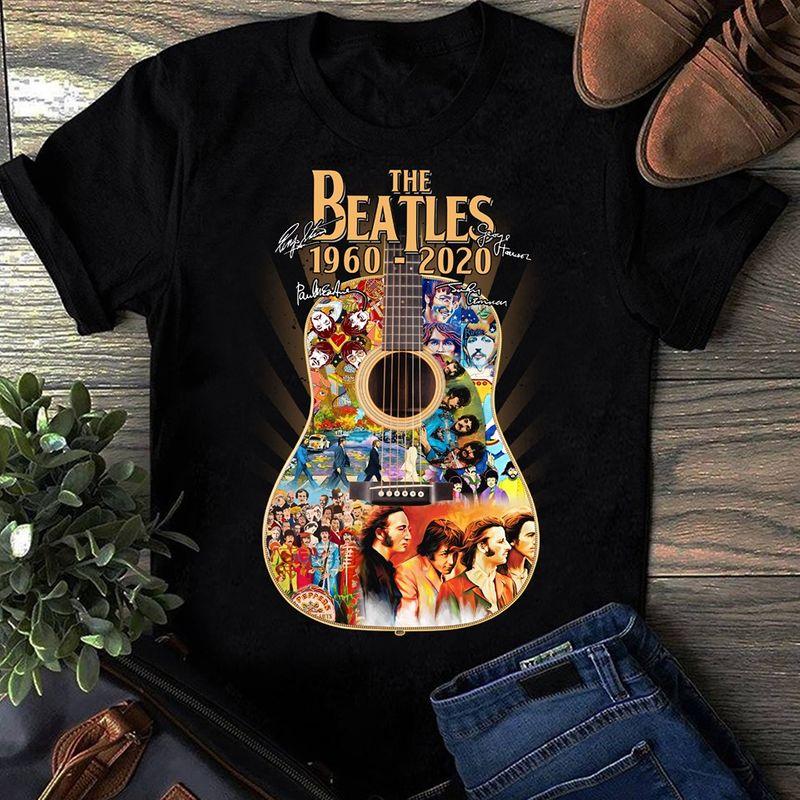Guitar The Beatles 1960-2020  T Shirt Black A5