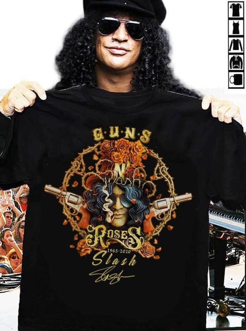 Guns N Roses Fans 1965 2020 Slash Signature Perfect Gift For Music Lovers Black T Shirt Men And Women S-6XL Cotton
