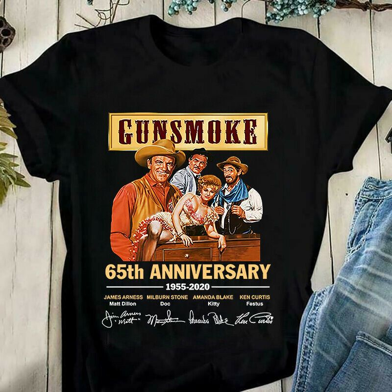 Gunsmoke Picture 65Th Anniversary Signature Gift For Movie Lovers Black T Shirt Men And Women S-6XL Cotton