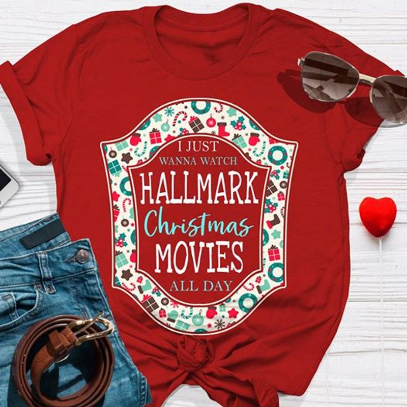 Hallmark Christmas Movies All Day T-shirt Red A8