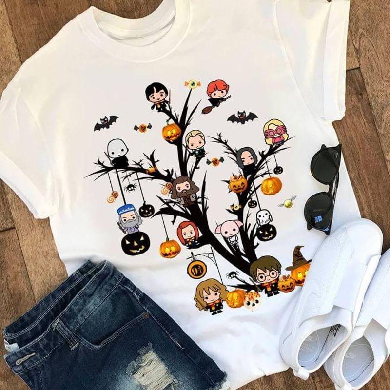 Halloween Character Tree Tee Harry Potter Chibi Cute Art Pumkins Halloween White T Shirt Men And Women S-6XL Cotton
