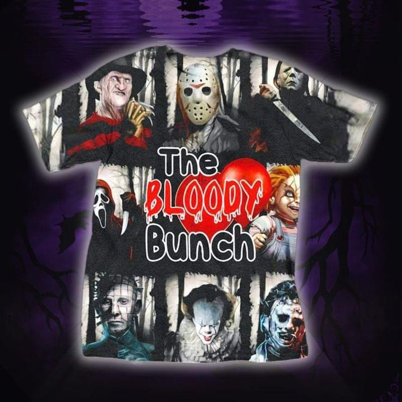 Halloween Horror Movie Characters The Bloody Bunch T-shirt Halloween Gift T Shirt Print All Over Unisex  Full Size S-5XL