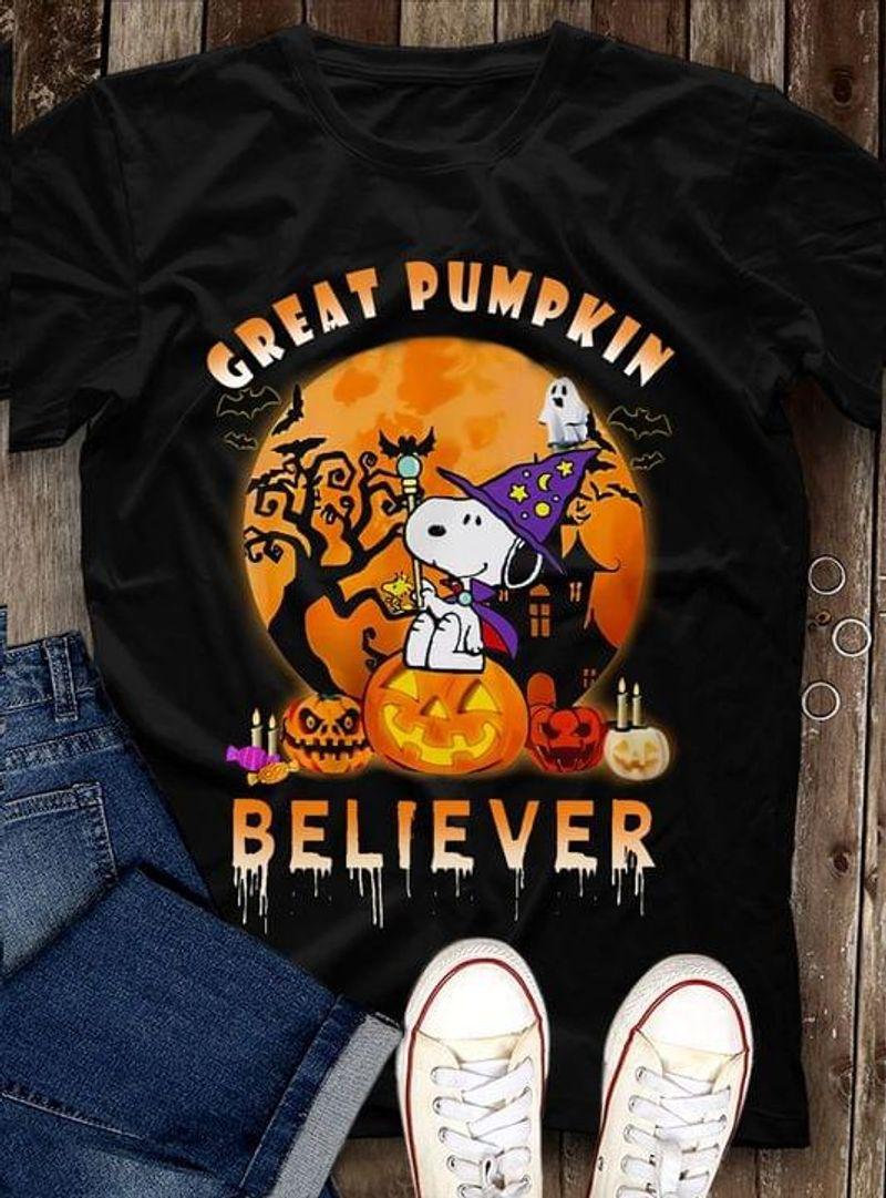 Halloween Snoopy Witch Great Pumpkin Believer Jack O Lantern Halloween Gift Idea Black T Shirt Men And Women S-6XL Cotton