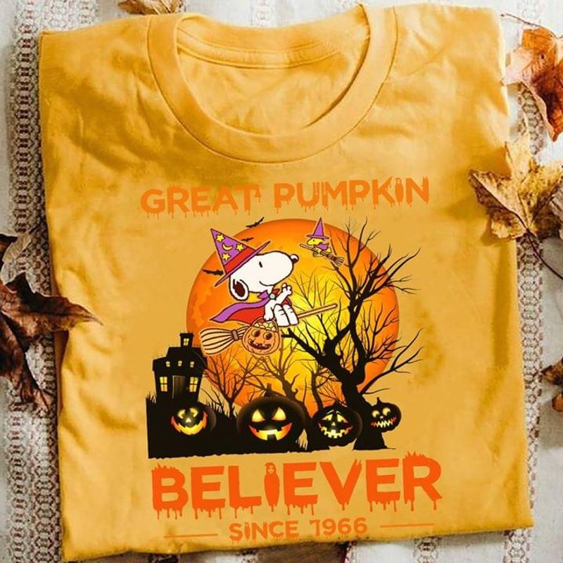 Halloween Snoopy Witch Tee Great Pumpkin Believer Since 1966 Orange T Shirt Men And Women S-6XL Cotton