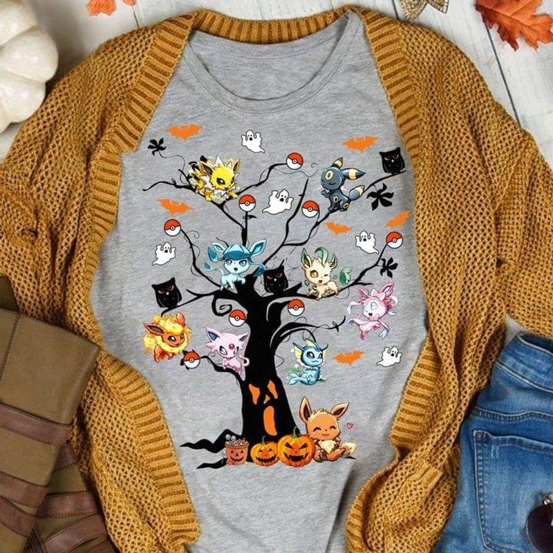 Halloween Tree Pikachu Pokemon Bat And Owls Great Ideas Halloween Gift Sport Grey T Shirt Men And Women S-6XL Cotton