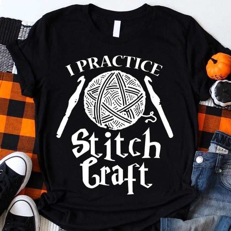 Halloween Witch Yarn I Practice Stich Craft Perfect Tee For Crochet Lovers Black T Shirt Men And Women S-6XL Cotton