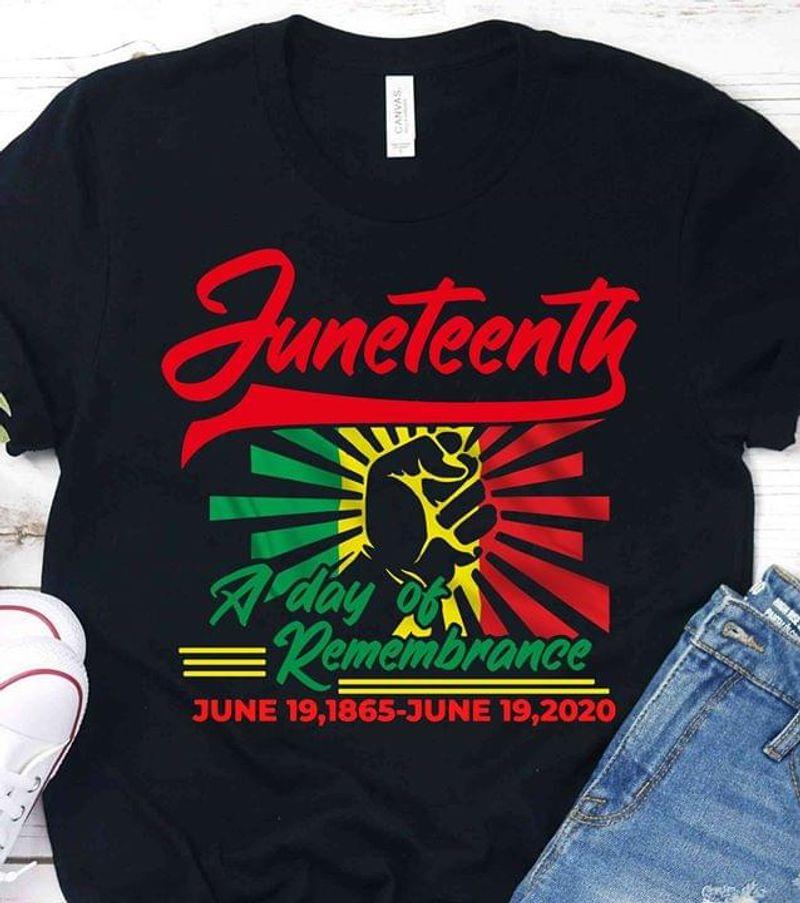 Hand Juneteenth A Day Of Remembrance Black T Shirt Men/ Woman S-6XL Cotton