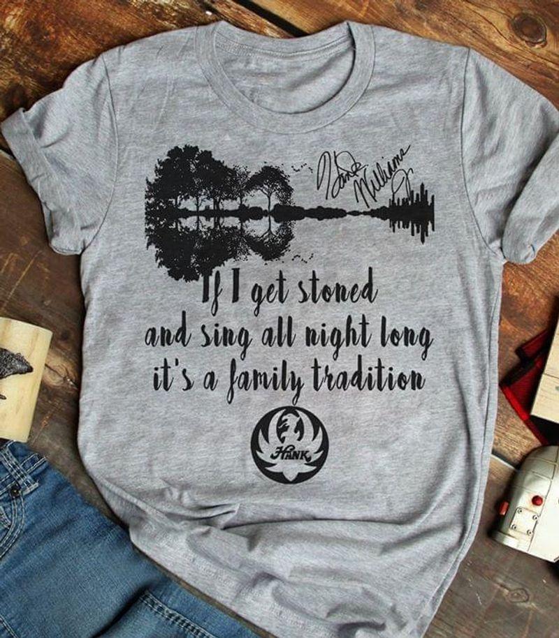 Hank Williams Family Tradition Lyrics Signature Vintage Guitar Mirror Trees Grey T Shirt Men/ Woman S-6XL Cotton