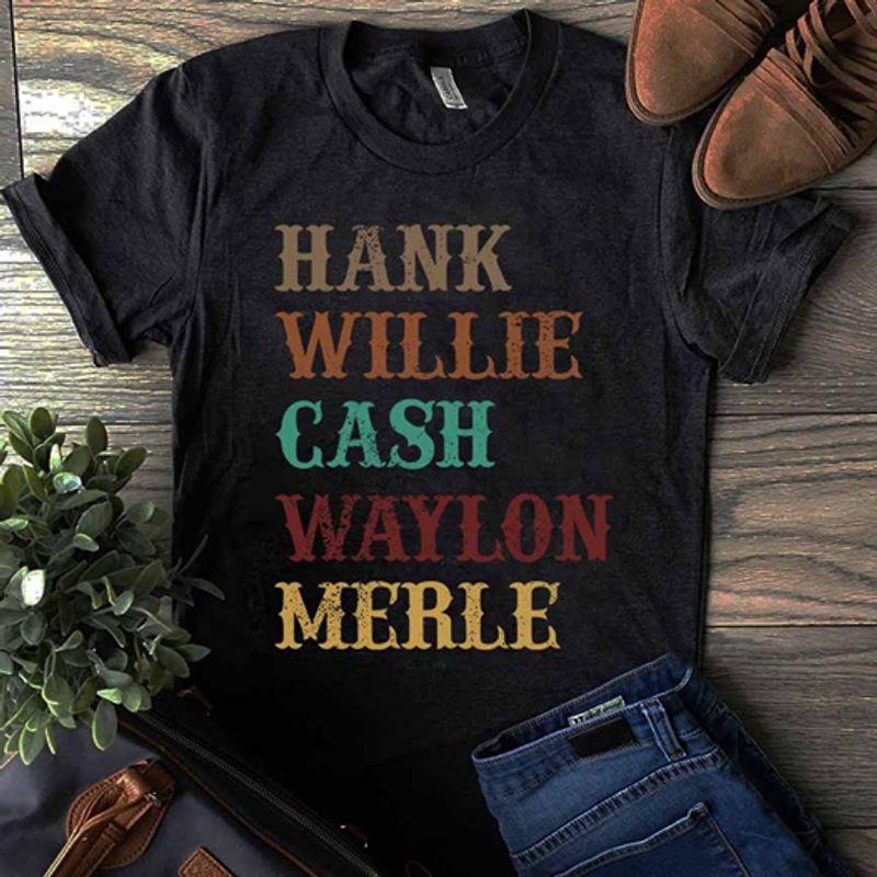 Hank Willie Cash Wayllon Merle T Shirt Black C2