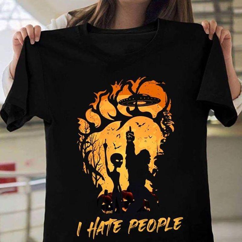 Happy Halloween Bigfoot & Alien I Hate People T-Shirt Funny Halloween Gift Black T Shirt Men And Women S-6XL Cotton