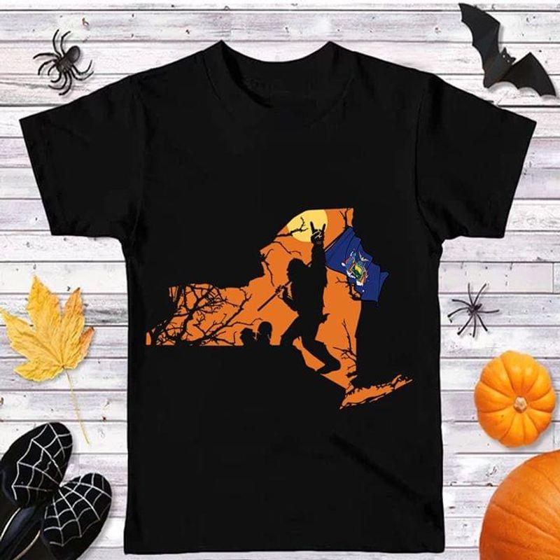 Happy Halloween Bigfoot New York Flag Us State T Shirt Halloween Gift Black T Shirt Men And Women S-6XL Cotton