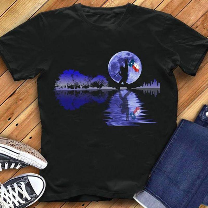 Happy Halloween Bigfoot Texas Flag Us State Guitar Tree T-Shirt Halloween Gift Black T Shirt Men And Women S-6XL Cotton