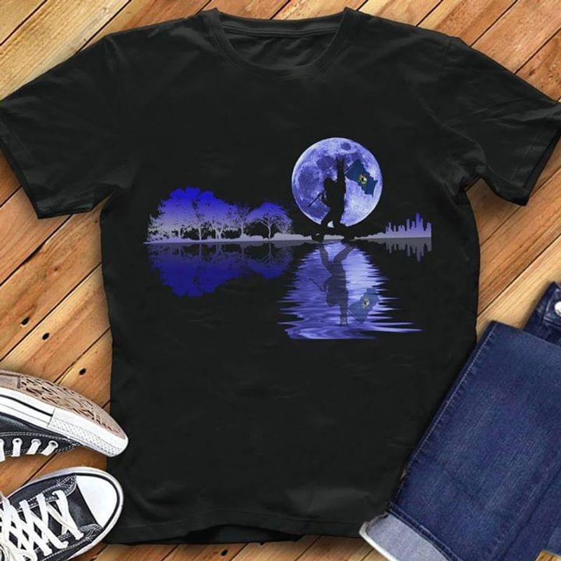 Happy Halloween Bigfoot Vermont Flag Us State Guitar Tree T-Shirt Halloween Gift Black T Shirt Men And Women S-6XL Cotton