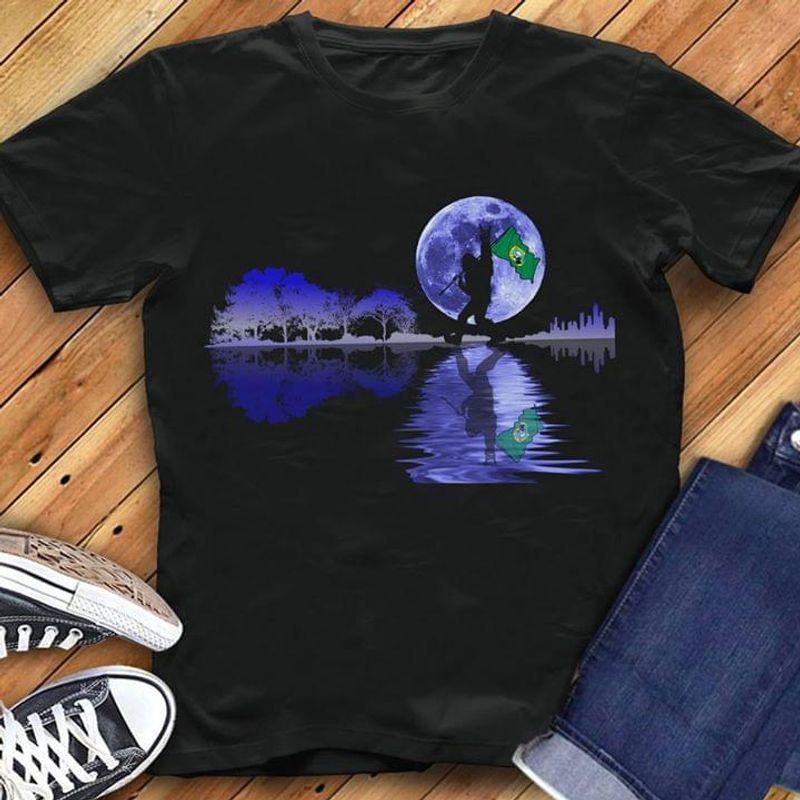 Happy Halloween Bigfoot Washington Flag Us State Guitar Tree T-Shirt Halloween Gift Black T Shirt Men And Women S-6XL Cotton