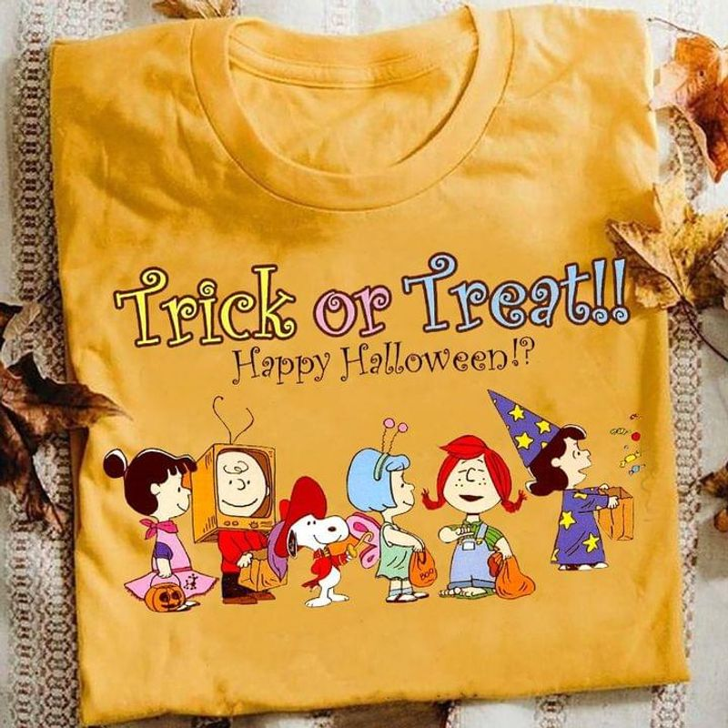 Happy Halloween Sn00py And Friends Costume Trick Or Treat Ideal Halloween Fashion Street Gold T Shirt Men And Women S-6XL Cotton