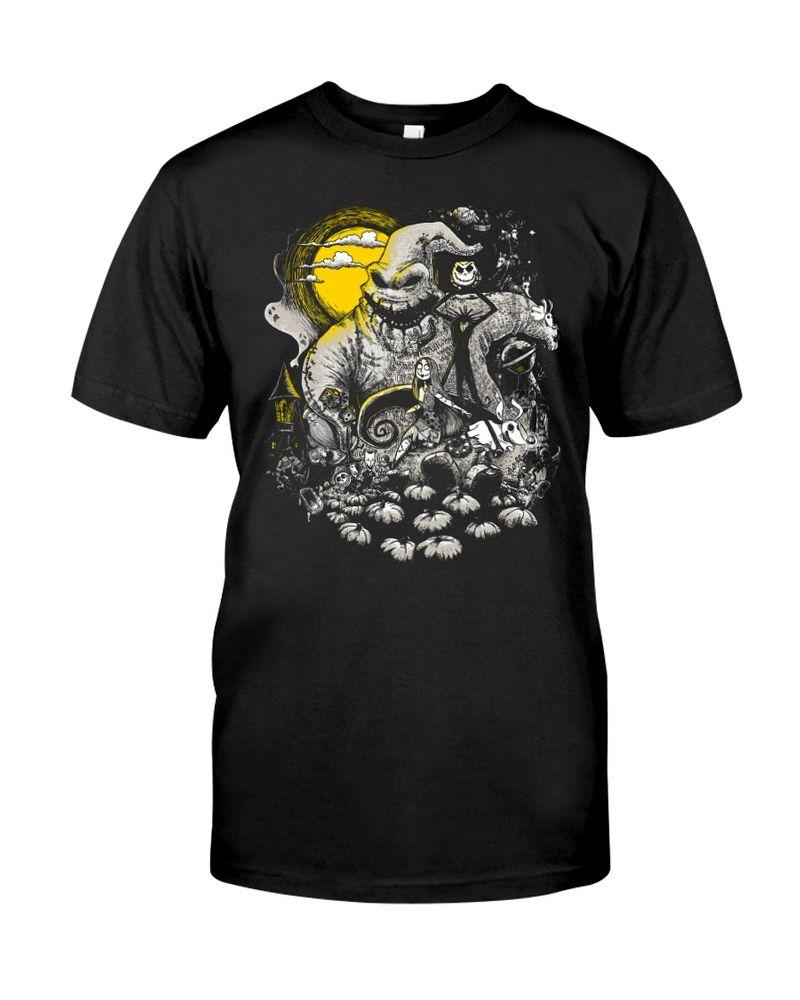 Happy Halloween The Nightmare Before Christmas T-Shirt Halloween Gift Black T Shirt Men And Women S-6XL Cotton