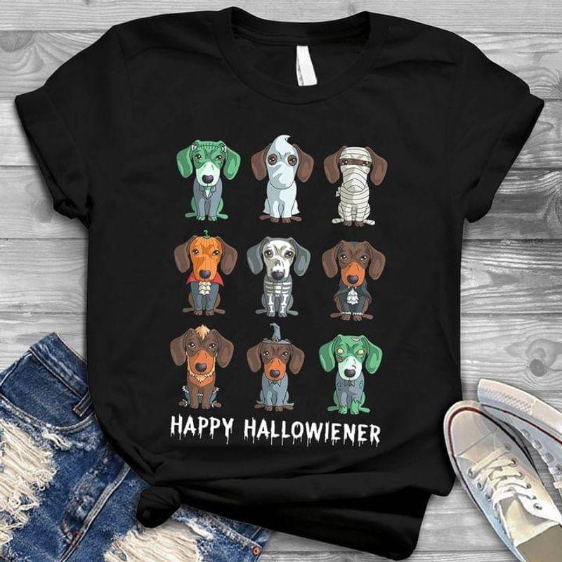 Happy Hallowiener Halloween Dachsund Cosplay Halloween Gift Idea Black T Shirt Men And Women S-6XL Cotton