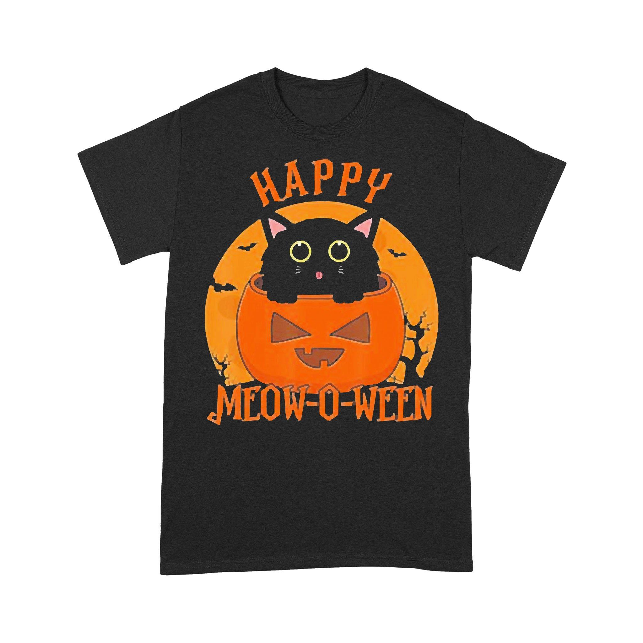 Happy Meow O Ween Blood Moon Halloween T-shirt