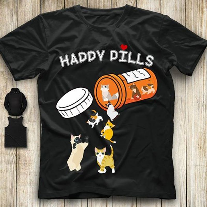 Happy Pills Box Cats T-shirt Black A4