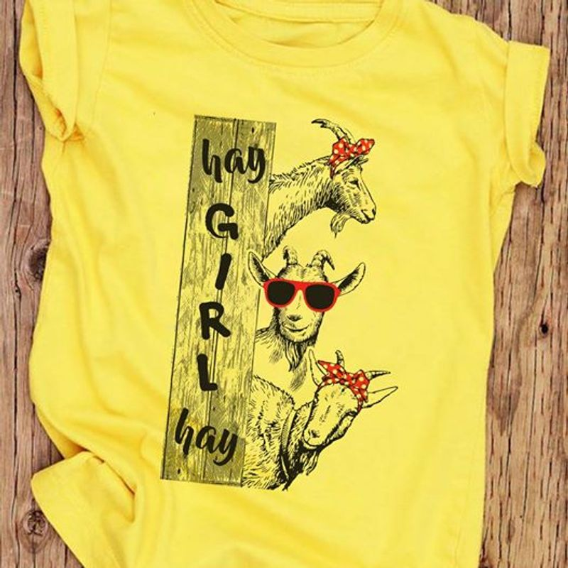 Hay Gril Hay Goat T Shirt Yellow A2