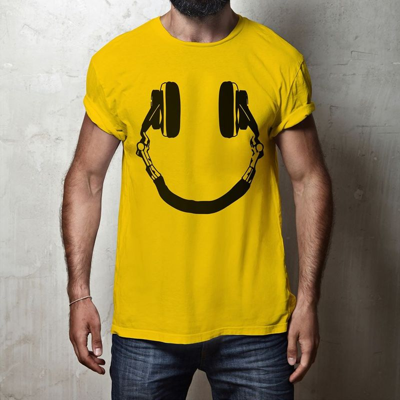 Headphone Smile Face T Shirts Yellow