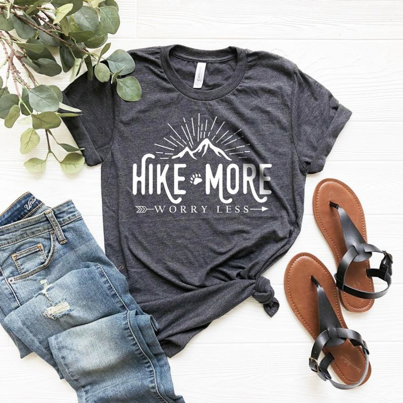 Hiking Shirt  Hike More Worry Less Ladies' Unisex T-Shirt- Adventure Camping Shirt, Outdoors, Wanderlust Shirt, Arrows, Women's Unisex