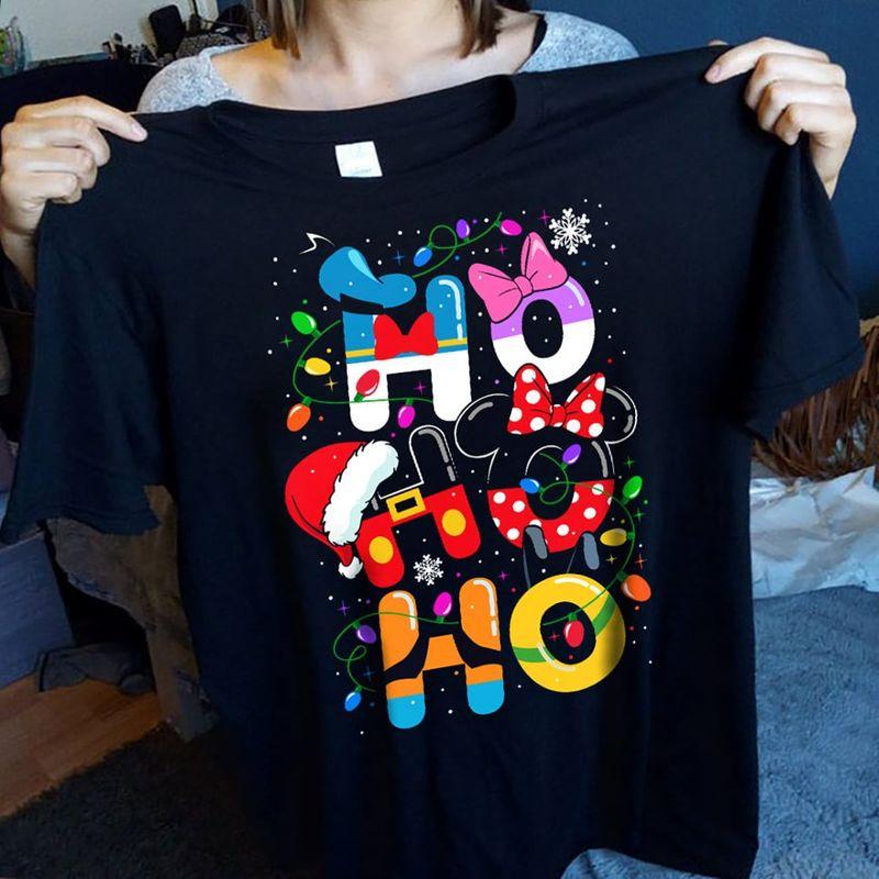 Hohoho Minnie Mouse Hat Christmas And Light  T-shirt Black A4