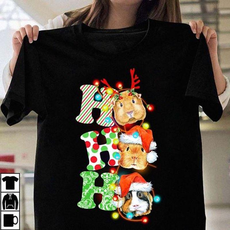Hohoho Mouse Deer Hat Christmas T-shirt Black A4