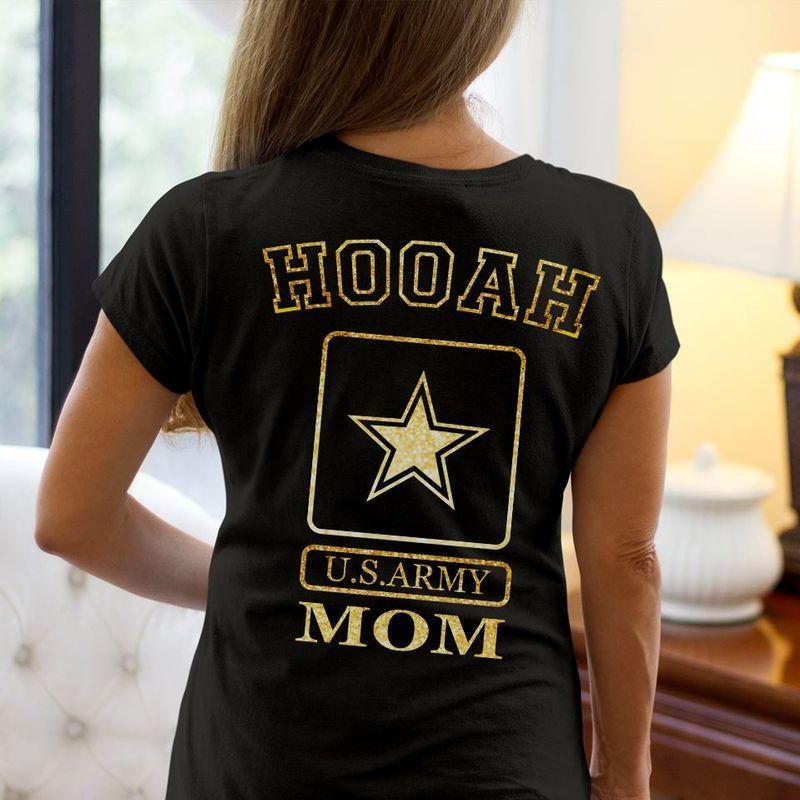 Hooah Us Army Mom Star T-Shirt Black B5