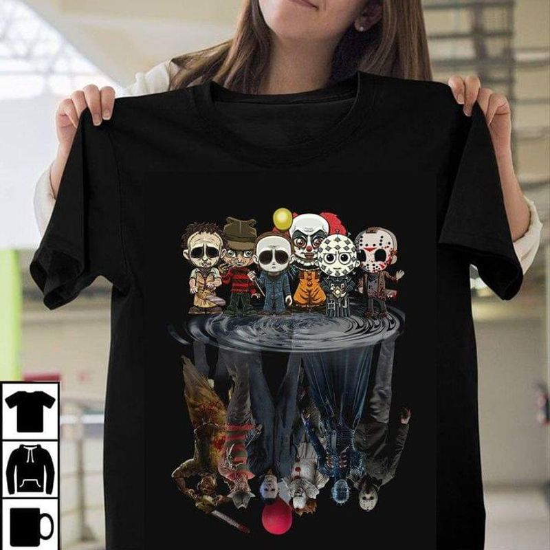 Horror Movie Characters Water Reflection Halloween Killers Halloween Gift Idea Black T Shirt Men And Women S-6XL Cotton