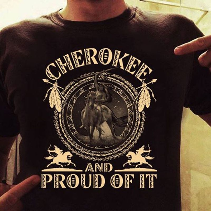 Horse Cherokee And Proud Of It  T-shirt Black A5