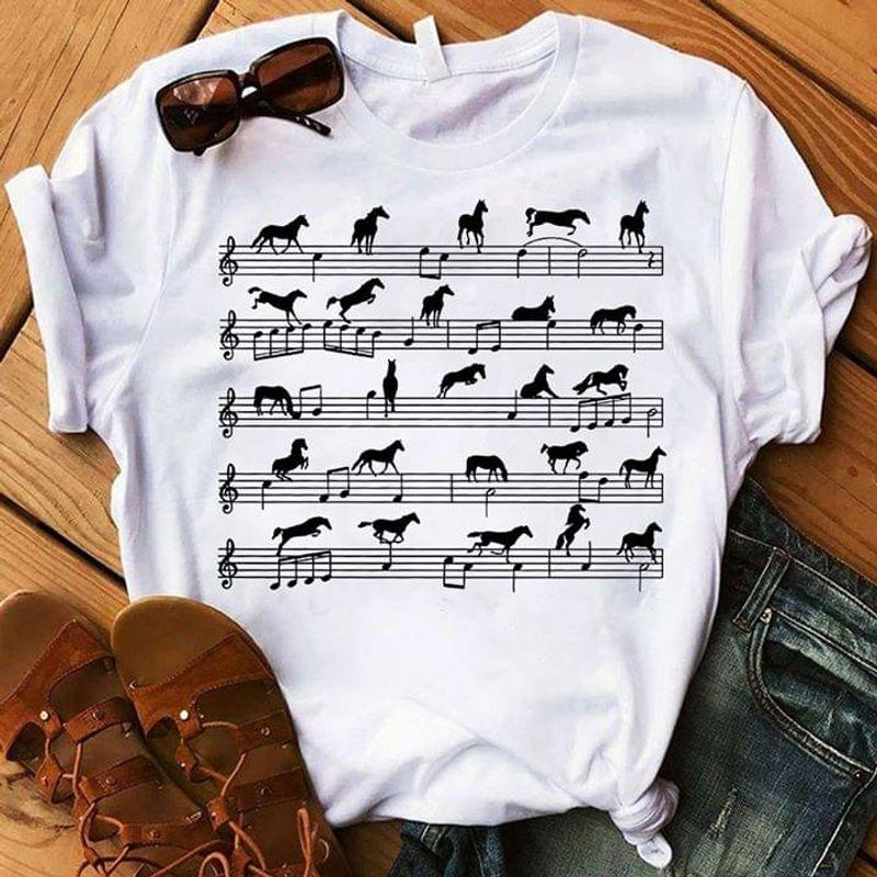 Horse Music Note Music Sheet T Shirt Horse Lovers Music Lovers Classic Tee White T Shirt Men And Women S-6XL Cotton