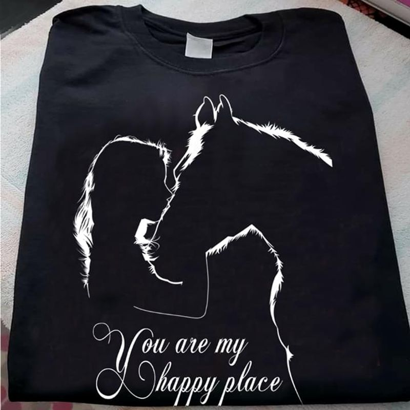 Horse Riding Lovers Horse You Are My Happy Place Black T Shirt Men And Women S-6XL Cotton