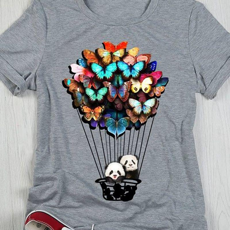Hot Air Balloon Panda T-Shirt Grey A5