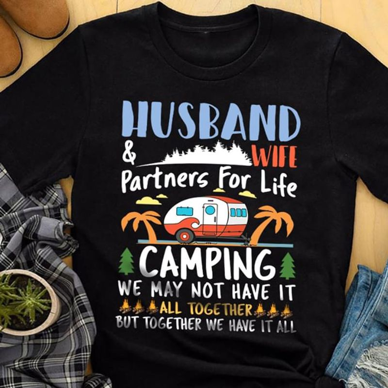 Husband And Wife Partners For Life Camping Funny Quote Couple Black T Shirt Men And Women S-6XL Cotton