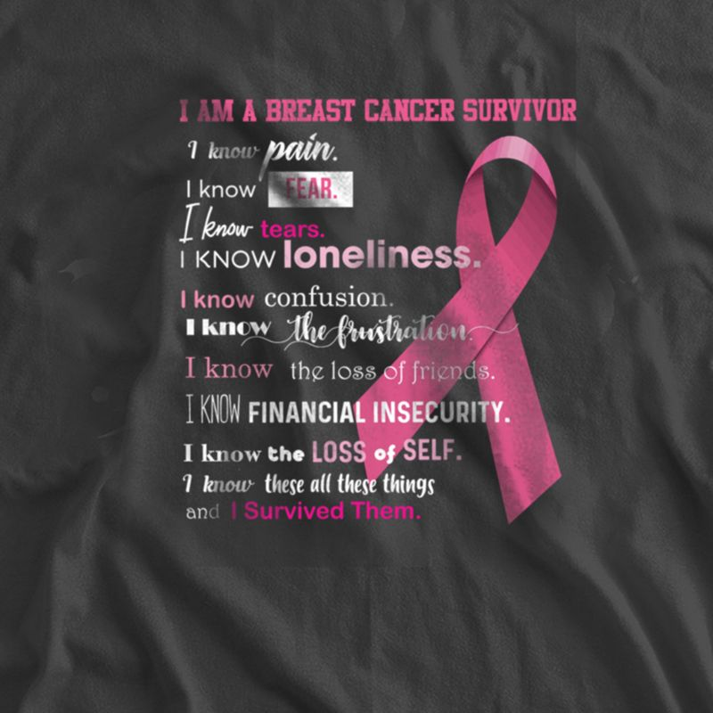 I Am A Breast Cancer Survivor I Know Pain Fear Tears Loneliness Confusion The Frustration Tthe Loss Of Friends Financial Insecurity The Loss Of Self These All These Things T Shirt Black A8