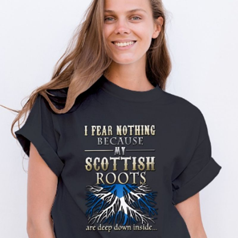 I Fear Nothing Becayse Roots Are Deep Down Inside  T-shirt Black B1