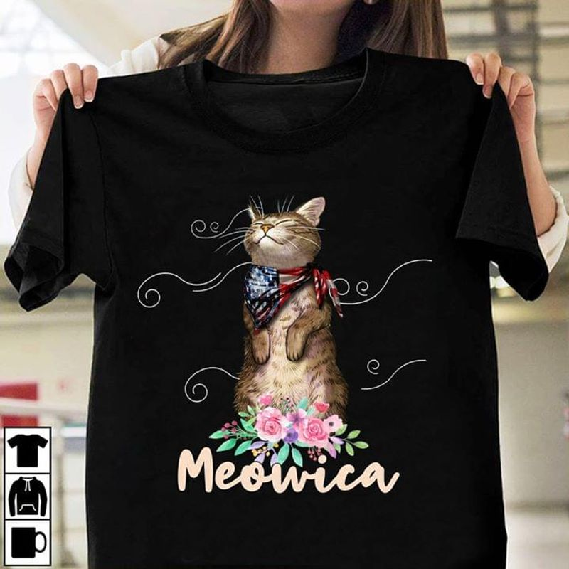 I Love My Cats Meowica Cute Animal American Flag Ideal Gift For Cat Lovers Black T Shirt Men And Women S-6XL Cotton