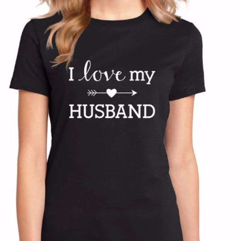 I Love My Husband  T-shirt Black A5