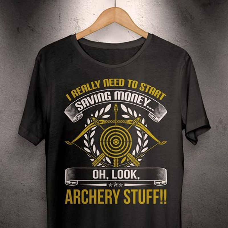 I Really Need To Start Saving Monkey Oh Look Archery Stuff   T-shirt Black B5