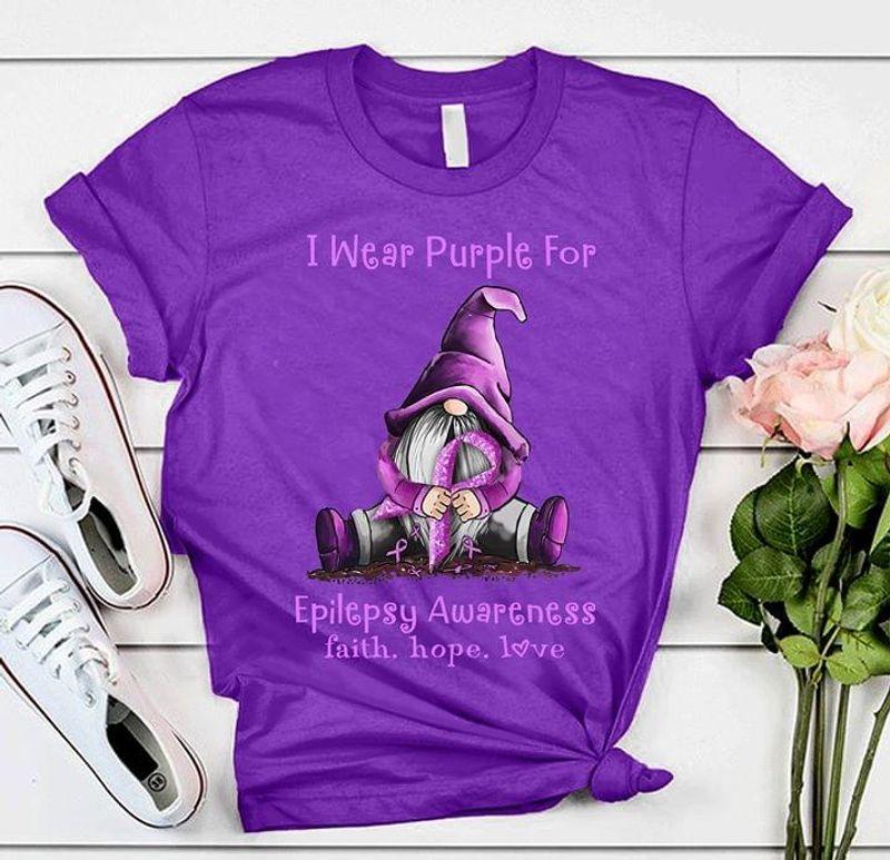 I Wear Purple For Epilepsy Awareness Faith Hope Love Purple T Shirt Men/ Woman S-6XL Cotton